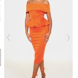 Orange Peplum Bardot Midi Dress
